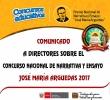 COMUNICADO A DIRECTORES SOBRE EL CONCURSO NACIONAL DE NARRATIVA Y ENSAYO - JOSÉ MARÍA ARGUEDAS 2017