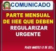 PARTES MENSUALES OBSERVADOS – REGULARIZAR HASTA EL MARTES 12 DE SETIEMBRE