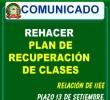 IIEE QUE DEBEN REHACER PLAN DE REPROGRAMACIÓN DE RECUPERACIÓN DE CLASES