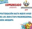 POSTERGACIÓN DE LOS JUEGOS DEPORTIVOS ESCOLARES NACIONALES ETAPA MACROREGIONAL SEDE AREQUIPA - HASTA NUEVO AVISO OFICIAL.