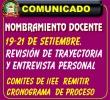 COMUNICADO URGENTE  A LOS POSTULANTES Y COMITES DE EVALUACIÓN DE NOMBRAMIENTO DOCENTE.