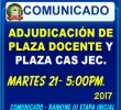 PLAZAS PARA CONTRATO DOCENTE Y CONTRATO CAS JEC ADJUDICACIÓN MARTES 21, HORA 5:00 PM.