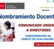 COMUNICADO URGENTE SOBRE NOMBRAMIENTO DOCENTE 2017 - DIRECTORES CONFORMAR COMITE DE EVALUACIÓN