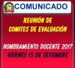 CONVOCATORIA A REUNIÓN DE DIRECTORES DE IIEE QUE CONFORMAN LOS COMITES DE EVALUACIÓN PARA NOMBRAMIENTO DOCENTE 2017.