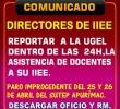 DIRECTORES DE IIEE REPORTAR BAJO RESPONSABILIDAD ADMINISTRATIVA LA ASISTENCIA O NO DE LOS DOCENTES A SUS IIEE.