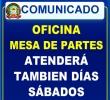OFICINA MESA DE PARTES DESDE EL SÁBADO 17 DE MARZO ATENDERÁ A NUESTROS USUARIOS DE 8:00AM A 12:00PM