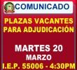 PLAZAS VACANTES PARA ADJUDICACIÓN DE CONTRATO DOCENTE - MARTES 20 DE MARZO.