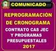 REPROGRAMACIÓN DEL CRONOGRAMA DE CONVOCATORIA CAS-JEC Y DE PROGRAMAS PRESUPUESTALES - 2017